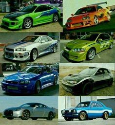 All the cars that Paul Walker drove in the fats and the furious movies. Mitsubishi Eclipse, Toyota Supra, Nissan Skyline R34 GTR, Mitsubishi Evolution 8 Nissan Skyline R34 GTR, Subaru Impreza STI, Nissan Skyline R35 GTR and Ford Escort MK1 AWOSOME
