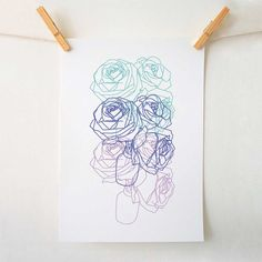 Roses Floral Illustration Art Print