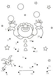 20 prikker, klovn by cassie Preschool Circus, Circus Crafts, Theme Carnaval, Color By Numbers, Circus Theme, Connect The Dots, Math For Kids, Kindergarten Math, Colouring Pages