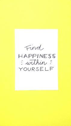 Seek for your inner happiness. Lettering via Luloveshandmade.com