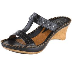 Ariat Cannes in Black $59.90 is a great sale sandal with beautiful studs and leather designs. This sandal also is on a wedge platform for long lasting comfort. www.shoemill.com/ariat