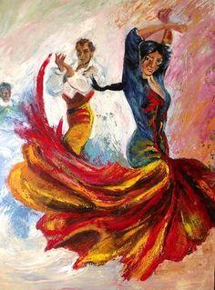 Peinture couple de flamenco