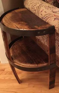 Bourbon whiskey barrel stave side table with bottom barrel head shelf