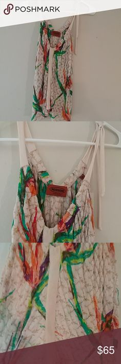 Bohemian summer tank with style Bird of paradise print on cream and gold pattern..one side can be tied in bow or hanging strap..can be worn with braw or without.. Missoni Tops Tank Tops
