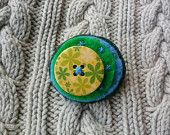 Felt, Wooden Button Brooch, Green and Blue, Hand Stitched.