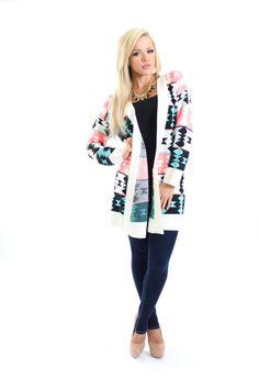 d7443c2e610d Modern Vintage Boutique - Neon Pink Tribal Sweater