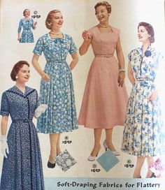 "1950s Plus Size Fashions for Your Body Type. 1950s Afternoon dresses ""Soft Draping Fabrics"" that hang in defined folds. #1950sfashion #plussize"