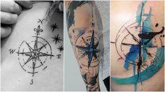 tatouage rose des vents graphique ou de style aquarelle en bleu