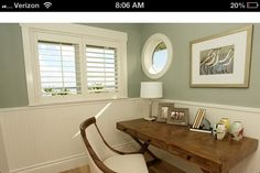 My dream home- love the plantation shutters and molding of the window and wainscoting