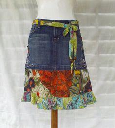 """Jupe """"Fleur d'Ailleurs"""" de Ma p'tite boutik récup'  sur DaWanda.com"""