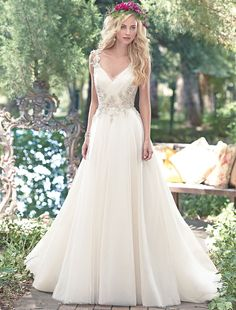 Bridesire - A-Linie V-Ausschnitt ärmellos Brautkleid [158513] - €181.05 : Bridesire