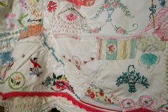 vintage linens repurposed.... sweet