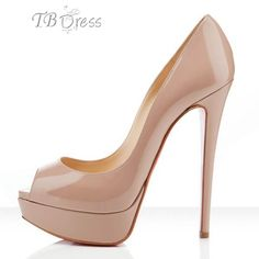 Classic Nude Patent Leather Upper Stiletto Heel Peep-toe Wedding Shoes