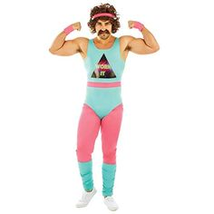 Fitness Instructor Mens Fancy Dress Neon Aerobics Sports Adults Costume New M Grey Fashion, 80s Fashion, 1980s Looks, Leopard Print Leggings, Black Leotard, Adult Fancy Dress, Dance Shorts, Herren Outfit