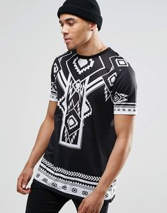 Image 2 ofASOS Longline T-Shirt With Monochrome Aztec And Number Back Print In Black