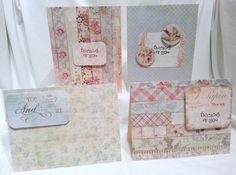 "Handcrafted by Teal Palmetto, LLC. If you are a lover of vintage, this notecard set is for you.  Soft shades of blue, pink, peach, and green combine in vintage floral and geometric patterns.  You get 3 ""thinking of you"" cards, and 1 ""You and...Me"" card. Price: $10."