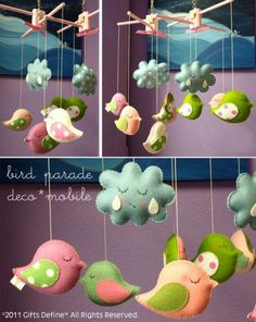 Musical Mobile BIRD PARADE Custom Color to Match von GiftsDefine