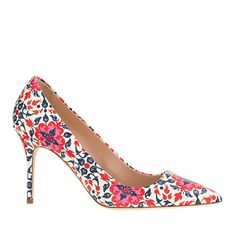 Obsessed with these pink, red and blue printed pumps now 40% during J. Crew's Labor Day Sale!