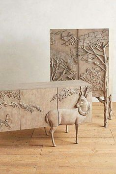 Design.  Look at the legs of the sideboard...Don't know what era this is from, maybe new?