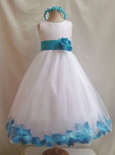 Flower Girl Dress WHITE/Turquoise PETAL Wedding Children Easter Bridesmaid Communion Turquoise White Silver Red Cherry Purple Pink Light