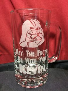 May the froth be with you! Personalized beer mug.  Order at: http://www.best-engraving.com/darthvadermug.aspx