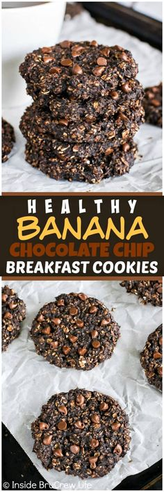 Healthy Banana Chocolate Chip Breakfast Cookies.  Oats and ripe bananas make this easy cookie a healthy treat for breakfast or for an after school snack. Great recipe when you are trying to eat healthy.
