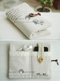 Want to make a bigger version of this for my kindle, charger, and earphones. So cute.