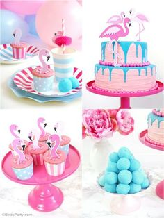 Flamingo pink & teal birthday party ideas with pool party DIY decorations, party printables, food and fun for kids! Baking Birthday Parties, Adult Birthday Party, Summer Birthday, Birthday Party Themes, Blue Birthday, Birthday Supplies, Card Birthday, Birthday Quotes, 21st Birthday