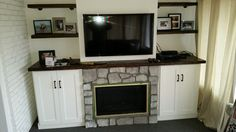 Gorgeous fireplace with shelving. Entertainment Area, Shelving, Flat Screen, Projects, Blood Plasma, Blue Prints, Shelves, Shelving Units, Flatscreen