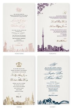 Big city new york city customizable wedding invitations in gray wedding invitations with skylines of hong kong toronto vienna and sydney stopboris Gallery