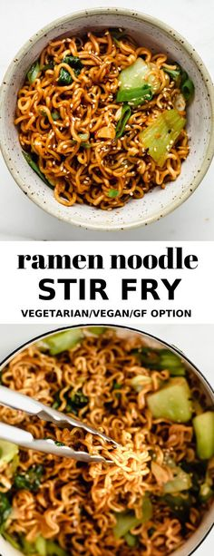 ramen noodle stir fry is ready in just 15 minutes for a delicious quick and easy meal!This ramen noodle stir fry is ready in just 15 minutes for a delicious quick and easy meal! Tasty Vegetarian Recipes, Vegetarian Recipes Dinner, Vegan Dinners, Veggie Recipes, Asian Recipes, Cooking Recipes, Healthy Recipes, Vegan Vegetarian, Vegan Ramen