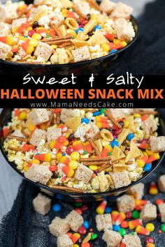 This sweet & salty Halloween Snack Mix is a delicious blend of crunchy and tender pieces. Perfect for class parties and a Halloween family movie night. Pumpkin Recipes, Fall Recipes, Holiday Recipes, Snack Recipes, Savoury Recipes, Party Recipes, Dessert Recipes, Fun Halloween Treats, Halloween Party