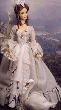 I'm not sure which Barbie this is, or if it is custom-made. I see Neuschwanstein Castle in the background though.