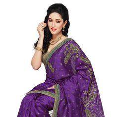 Purple Art Dupion Silk Saree with Blouse