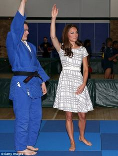 The Duchess of Cambridge tried her hand at judging a judo match, July 26, 2012
