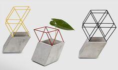concrete/ wire plant pots Workaholic by THINKK Studio