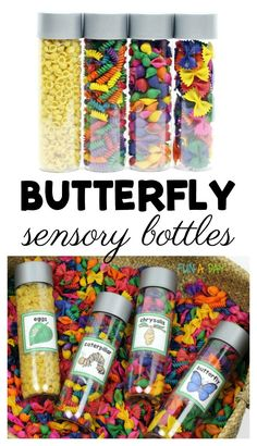 Butterfly life cycle sensory bottles for preschool and kindergarten. Includes free printable labels! #FreePrintable #Butterfly #Preschool #Kindergarten #PreschoolActivities #KindergartenActivities #Sensory #SensoryActivities #HandsOnLearning #Preschoolers #PreschoolTeachers #SpringActivities #Spring