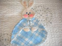 1979 Quaker Oats Fisher Price Blue Plaid Bunny Puppet Security Blanket Vintage #FisherPrice