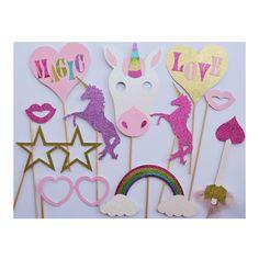 Unicorn Party Photo Booth Props ; Unicorn Birthday Decoration ; Valentines Day Photo Props ; Unicorn Party Decor ; Girl Birthday Party Decor by LetsGetDecorative on Etsy https://www.etsy.com/listing/496545314/unicorn-party-photo-booth-props-unicorn