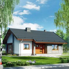 Dom pod lipką 2 (P) Country House Design, Small House Plans, Home Fashion, Exterior Design, Interior Inspiration, New Homes, Cabin, The Originals, House Styles