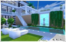Confort House - casa the Sims 4 Sims 4 Mods, Sims 3, Lotes The Sims 4, Sims 4 House Plans, Sims 4 House Building, Sims House, Celebrity Mansions, Celebrity Houses, Sims 4 House Design