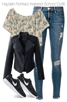 """Hayden Romero Inspired School Outfit 9th grade/14 year old"" by staystronng ❤ liked on Polyvore featuring Frame Denim, OTTE, Chicwish, NIKE, school, autumn, tw and HaydenRomero"