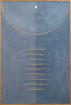 "Stefano Maraner ""Composition heavenly"" mixed media/wood/rope/stone on table 1998"