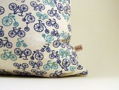 decorative pillow  bicycle pillow cover  18 pillow  by chezlele, $25.00