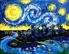 SOLD OUT! - Starry Night Over Pittsburgh - Pittsburgh (West), PA Painting Class - Painting with a Twist