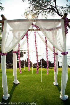 4 post bamboo arch with hanging orchid lei wwwmikesidneycom - Bamboo Canopy 2015