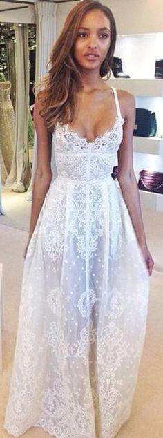 Through lace slip maxi dress