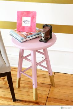 table made from a stool...video tutorial...
