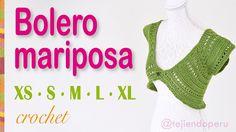 Bolero o torera mariposa tejido a #crochet para mujeres en 5 tallas: XS·S·M·L·XL Video tutorial del paso a paso :)