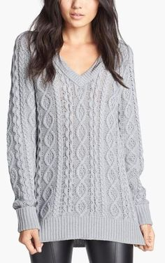 Cozy, grey cable knit sweater with leather